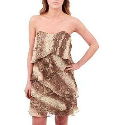 Haute Hippie Tiered Ruffle Snakeskin Print Dress