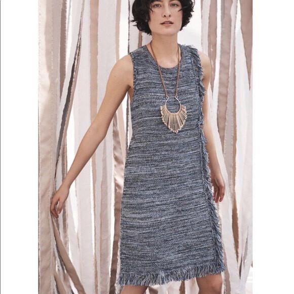 Holding Horses - Blue Knit Fringe Sweater Dress