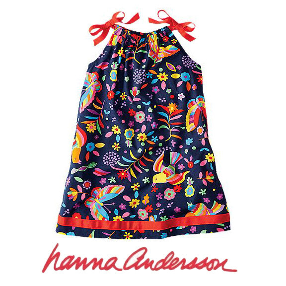 HANNA ANDERSSON - NAVY MULTICOLORED RAINBOW PRINT PILLOWCASE DRESS