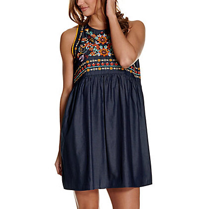 SAVANNA JANE - CHAMBRAY MULTICOLORED EMBROIDERED DRESS
