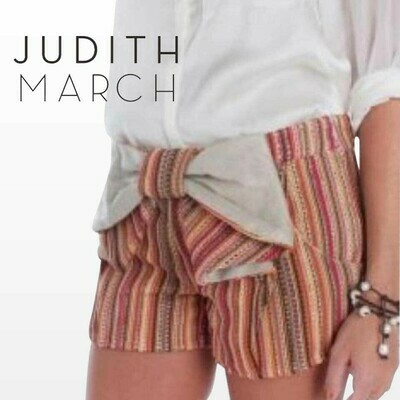 JUDITH MARCH STRIPED BOW SHORTS
