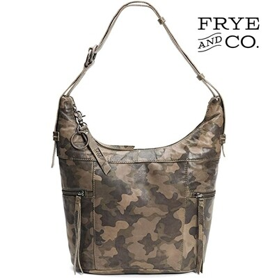 FRYE AND CO. JOLIE CONVERTIBLE CAMO SHOULDER BAG