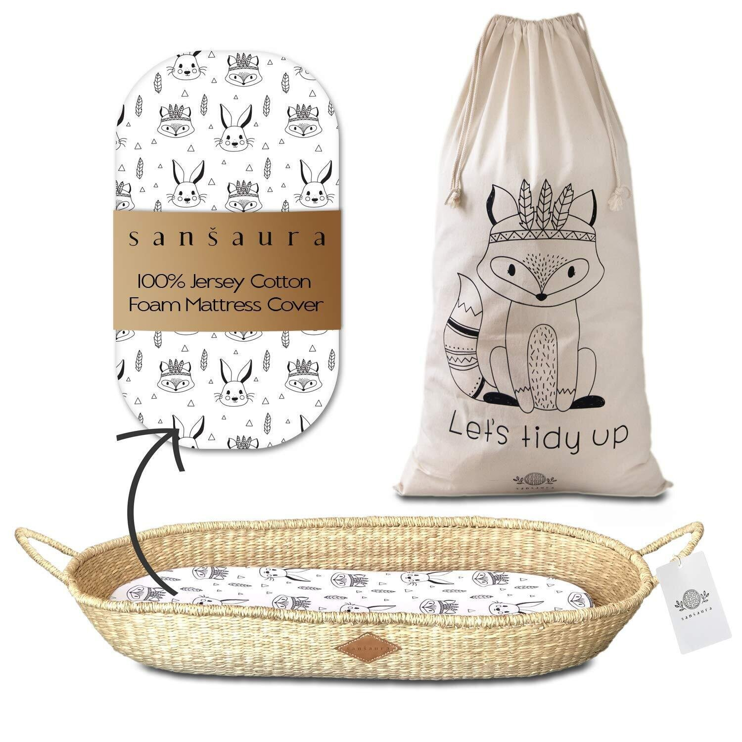 Sansaura Nursery Set - Baby Moses-Style Seagrass Diaper Changing Basket with Thick Waterproof Pad & 100% Cotton Fitted Sheet, Toy Storage Bag - Woodland Designs