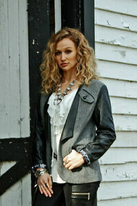 Tasha Polizzi Black/White Print Faux Leather Blazer