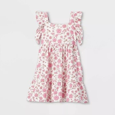 CAT & JACK - PINK FLORAL RUFFLE TIERED DRESS