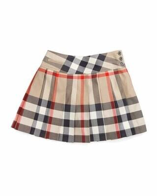 Burberry Girls' Serena Side Button Pleated Kilt