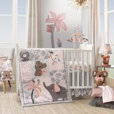 Lambs & Ivy Calypso Pink/Gray/White Koala 4-Piece Baby Crib Bumper