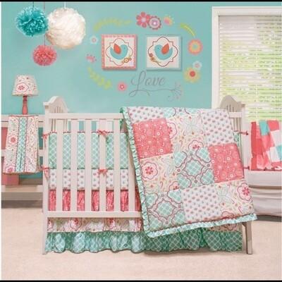 The Peanut Shell Baby Crib bedding in Mila - 7 piece set