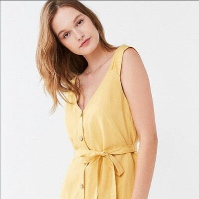 Urban Outfitters Canary Yellow Button Front Dress