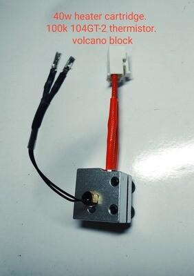 3 piece heater set; 1 x 50w heater. 1 x M3 screw-in 100K ohm NTC Semitec 104GT-2 Thermistor. 1 x Volcano block. Ready to fit X1 & Genius.