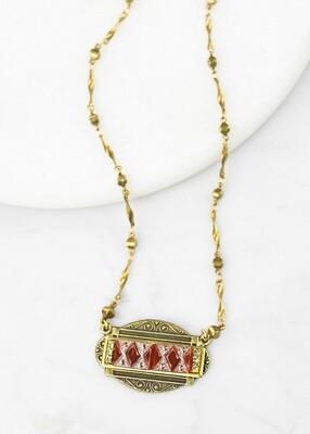 Carnelian Vintage Glass Necklace /N819B