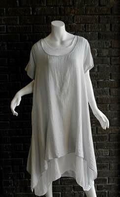 CW6991 silver 2pc linen dress