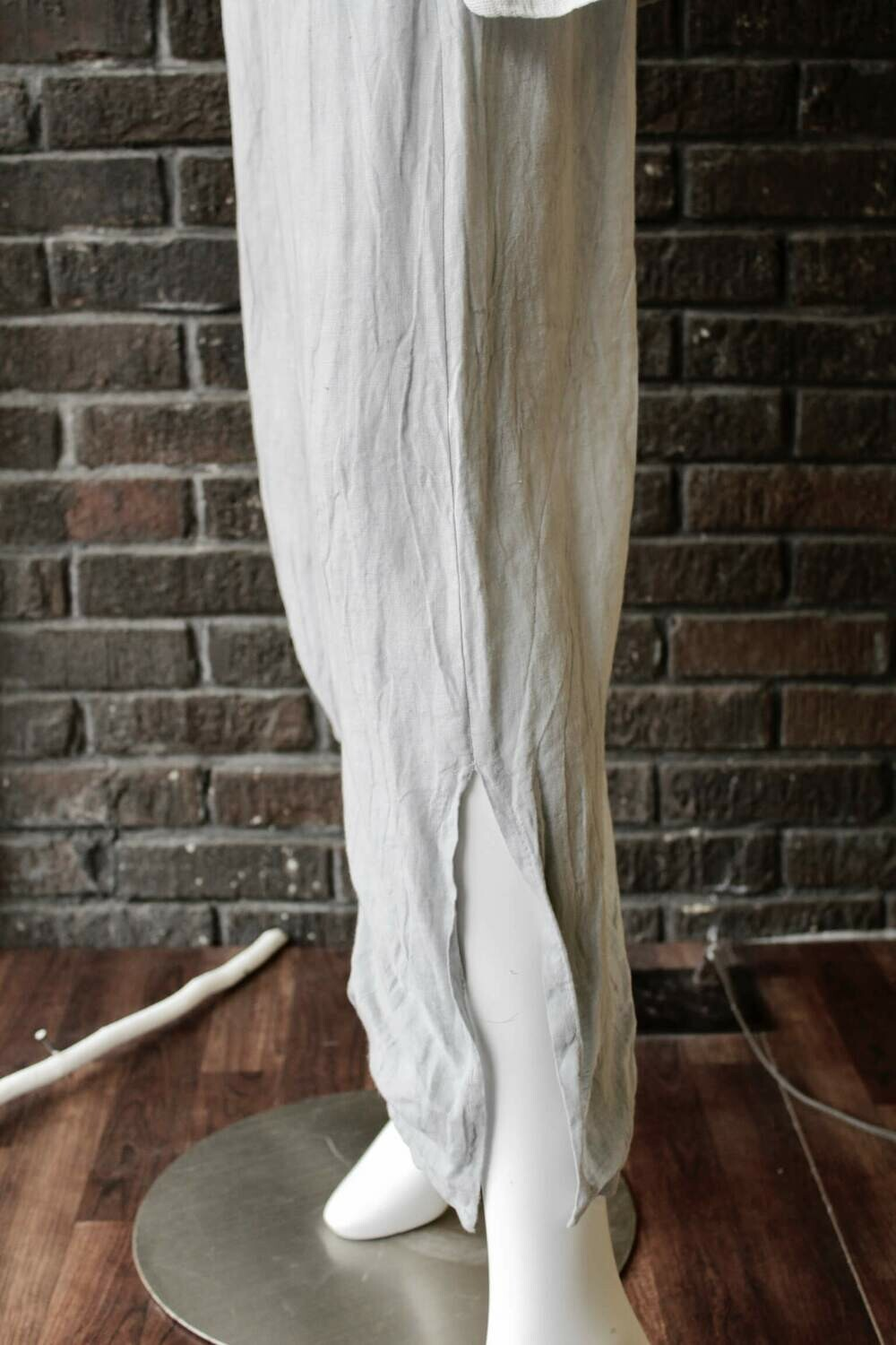 Silver Linen Crop Wide Leg Pants