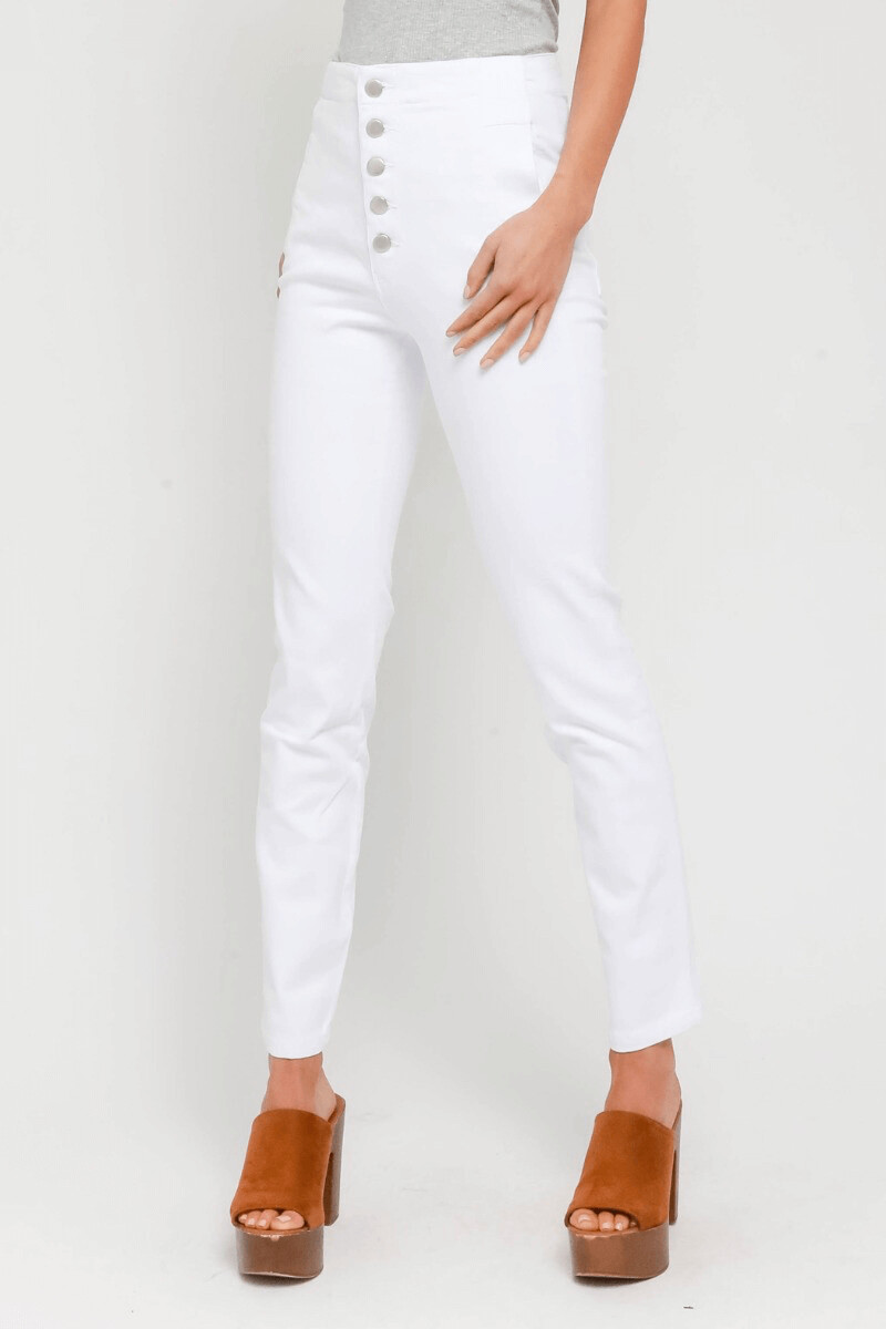 High-Waisted White Button Fly Jeans