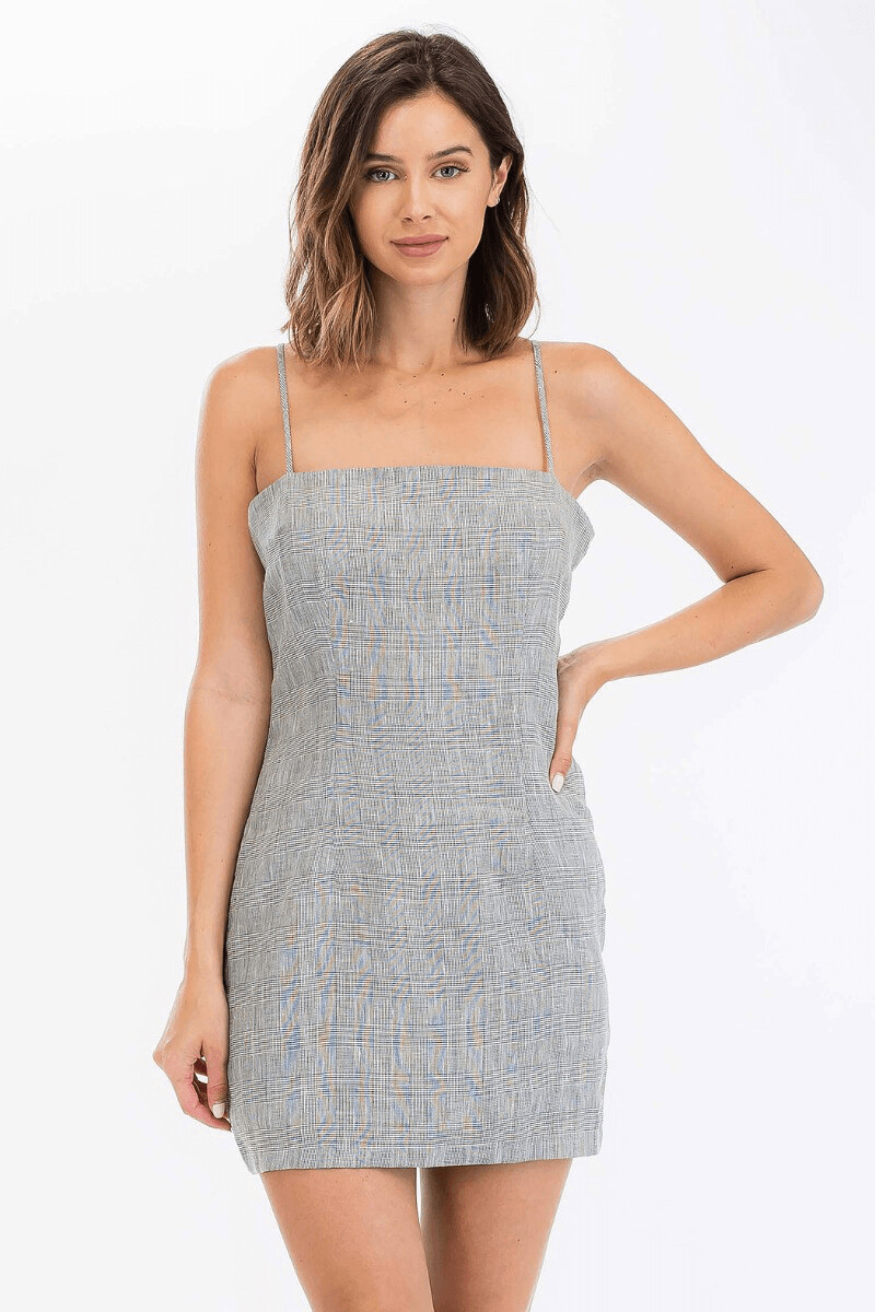 olv292 linen blend gry plaid dress