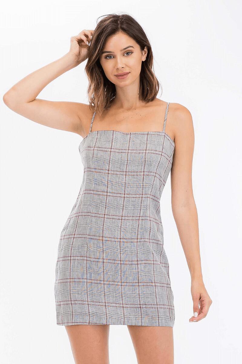 Olv208 linen blend red/gray plaid dress