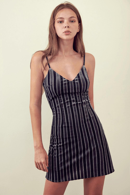 Dark Green & Grey Stripe Velvet Dress