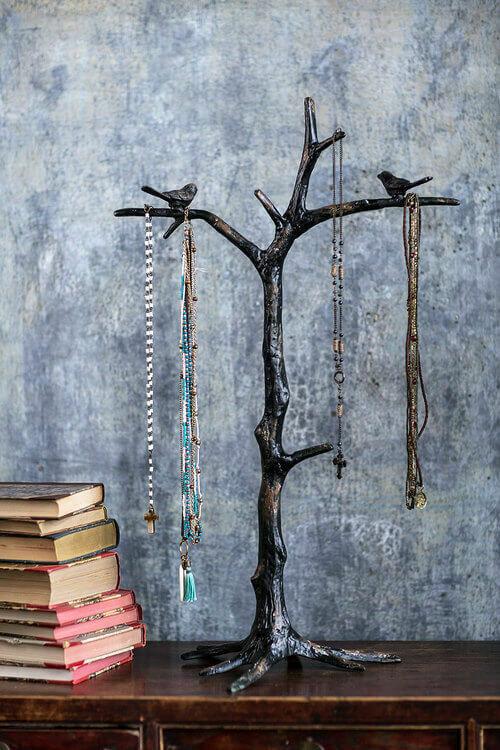 Tree Cast Iron Jewelry Stnd