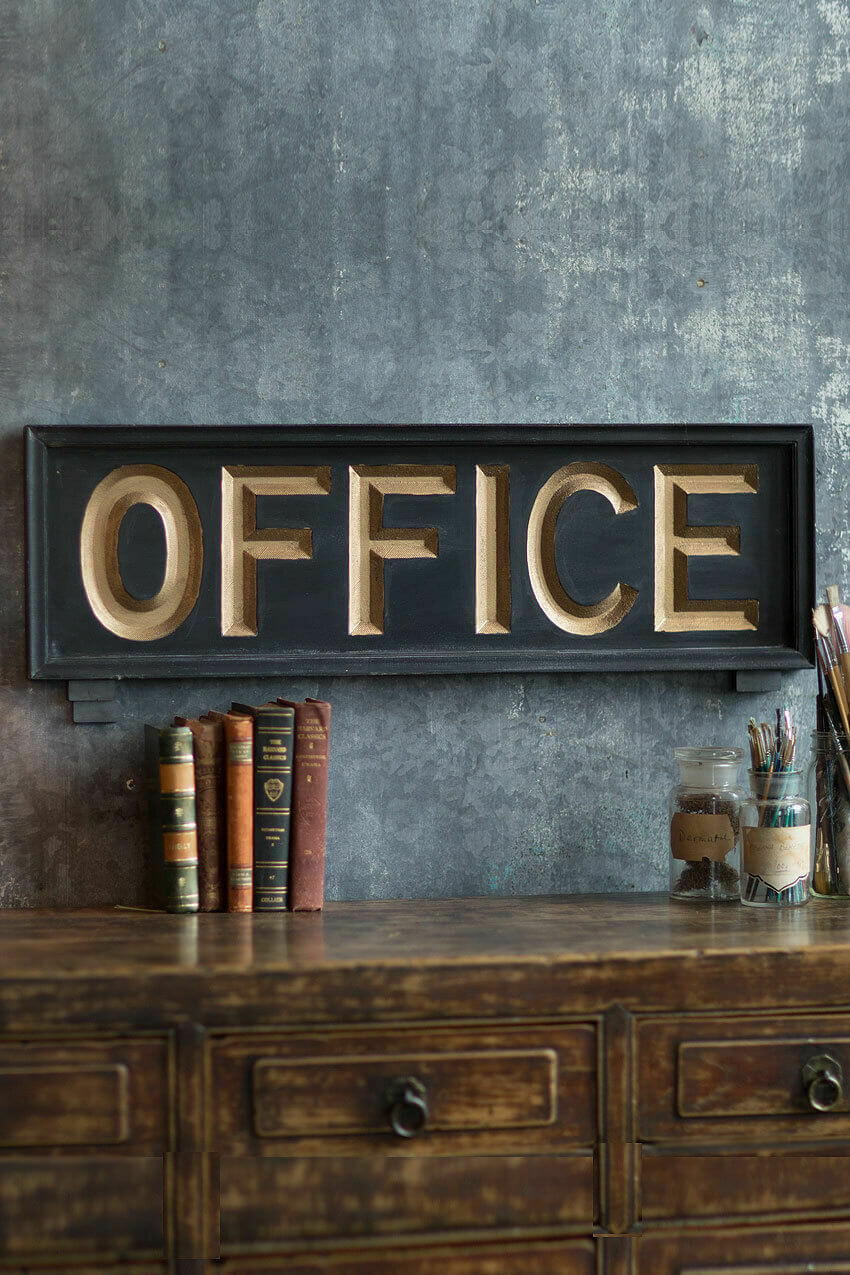 "Wooden Office Sign /32"" x 10"""