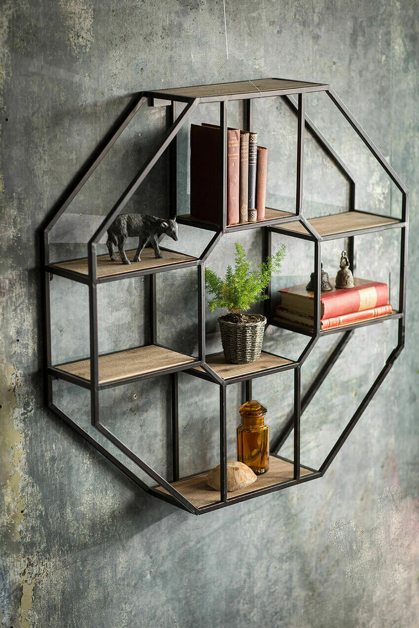 "Iron & Wood Octagonal Wall Shelf /36"" x 36"" x 7"""