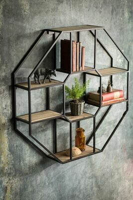 Iron & Wood Octagonal Wall Shelf /36