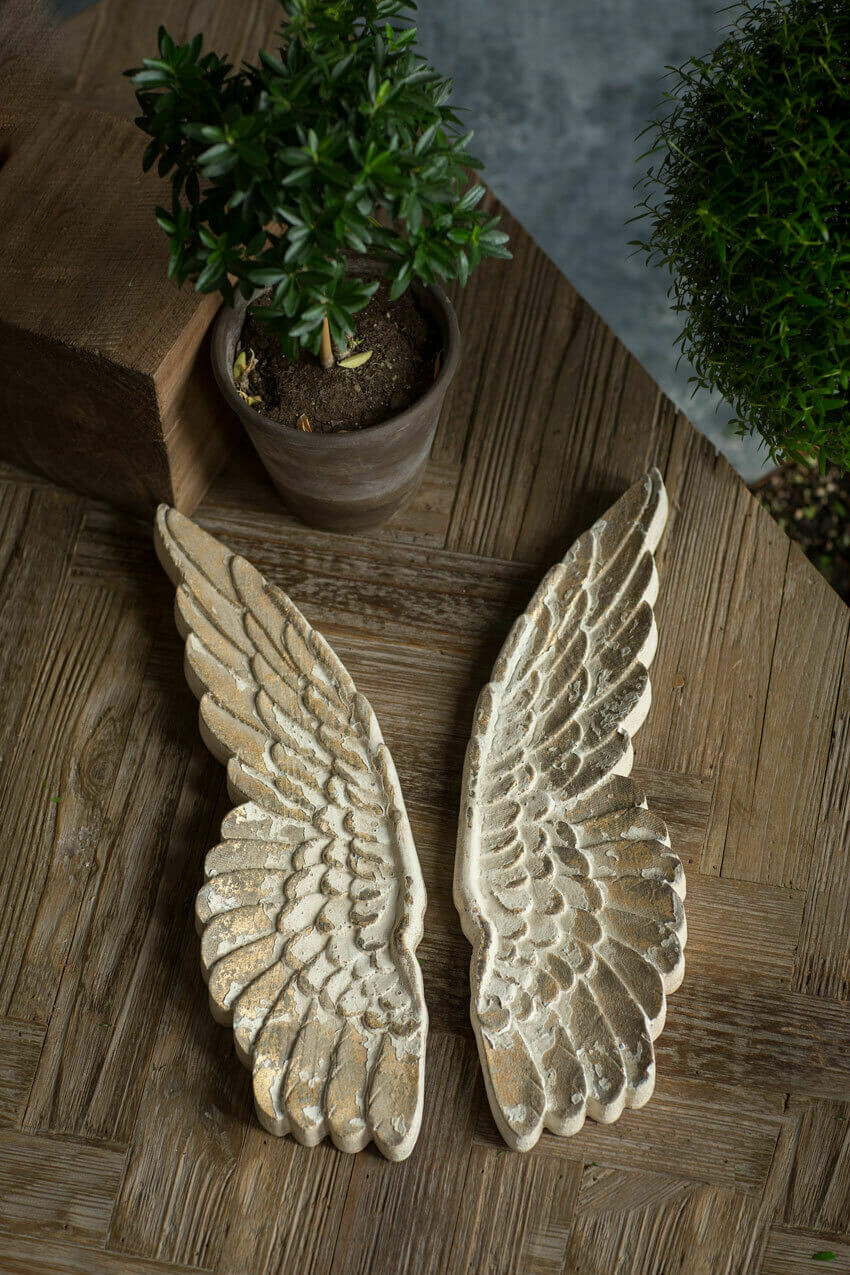 "Set Wooden Wings Wall Decor,16.5""x5""x1.5"" ea wing"