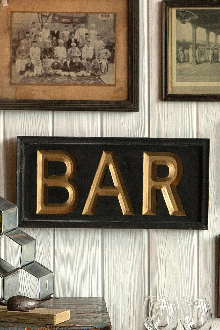 "Wood Bar Sign, 21"" x 10"" x 1.5"""