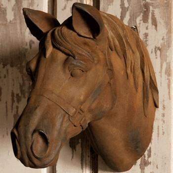 Estate stone horse head