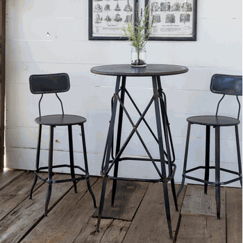 3pc Black Metal Bistro Table + Bistro Stools