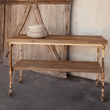 Kitchen Island Table w/shelf & w/locking wheels