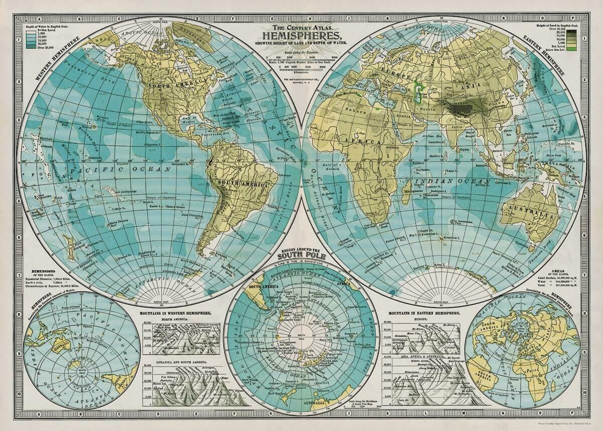Century Atlas Hemispheres map-hem /#6