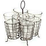 wire caddy with 4 glasses