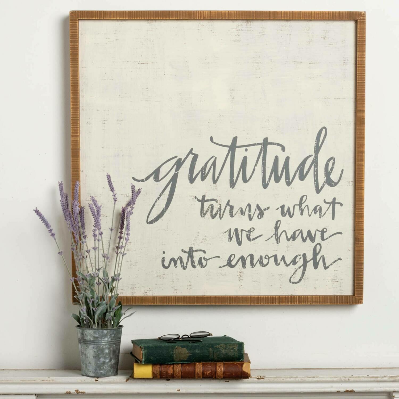 "Gratitude 26"" Sq Sign /37616"