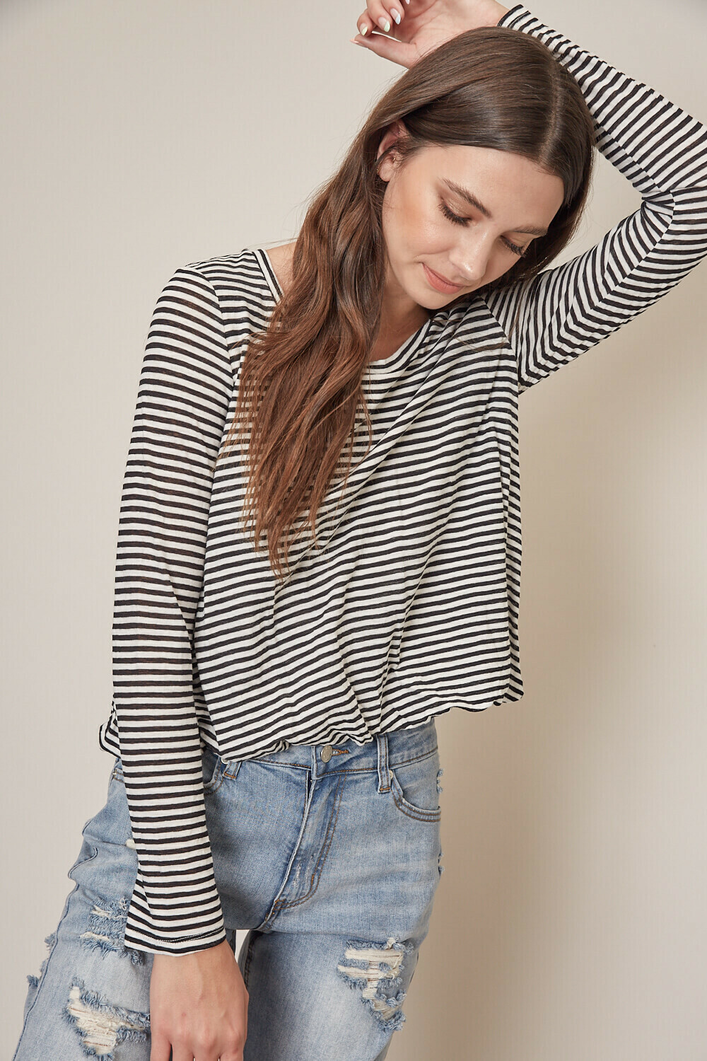 Long Sleeve Black Stripe Top