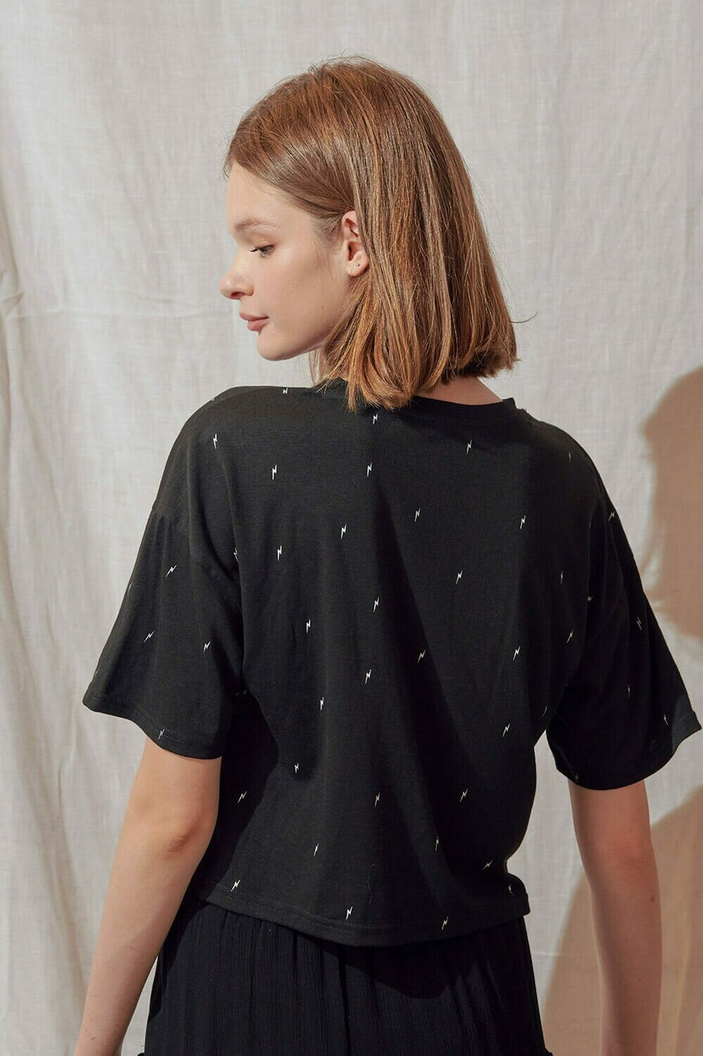Embroidered Bolt boxy tee