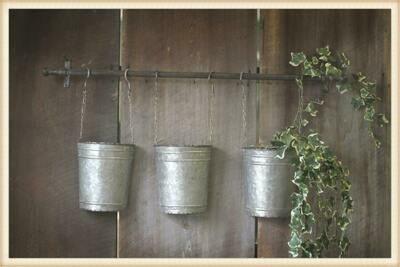 3 hanging buckets on rod