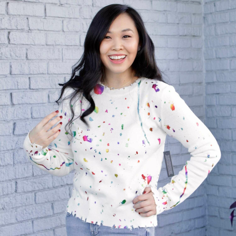 Fa11 white paint splatter sweater