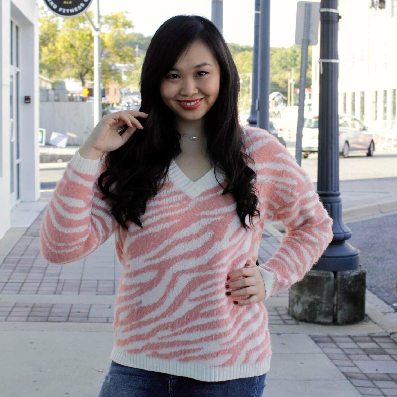 Pink Stripe Fuzzy Sweater