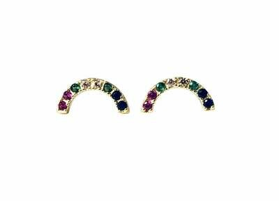 Rainbow curve post earrings 14K gldplt sterling silver