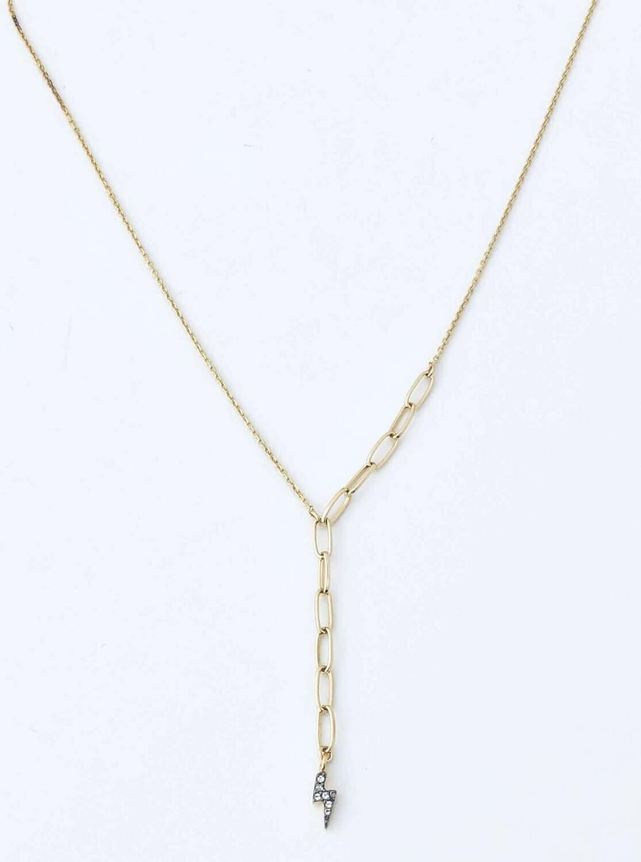 "18"" white topaz bolt 14k gold plated sterling necklace /391"