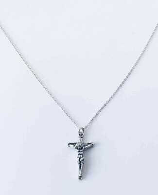 "Sterling Silver Crucifix 16"" Necklace"
