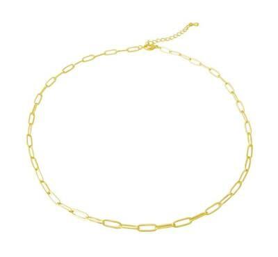 """14k gold plate brass clip choker, 14"""" + extension"""
