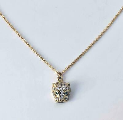 """16"""" 14k gldplt sterl CZ Cheetah nkl /011"""