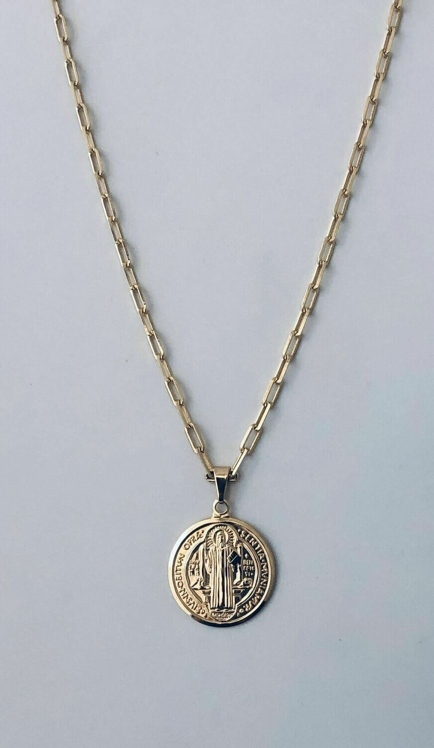 """18"""" !4k goldfill Saint Coin Necklace /306"""
