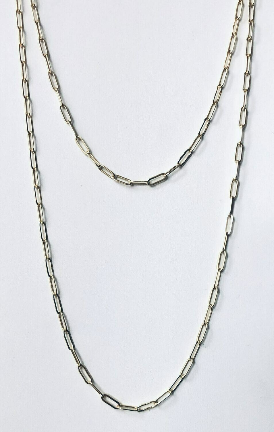 """14"""" & 18"""" 14k gold plated brass double clip chain necklace /003"""