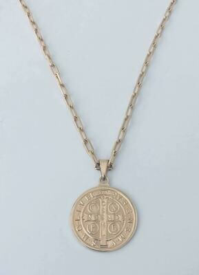 "Saint Coin Necklace 14K Gold Filled 18""Long"