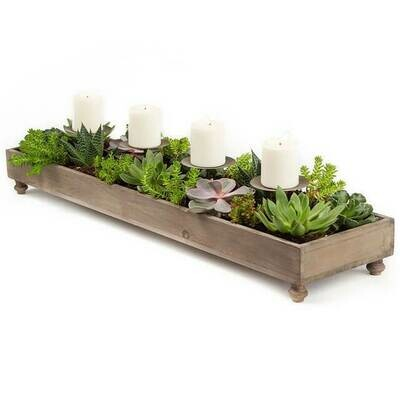 4 Candle Rustic Wood  CenterPc