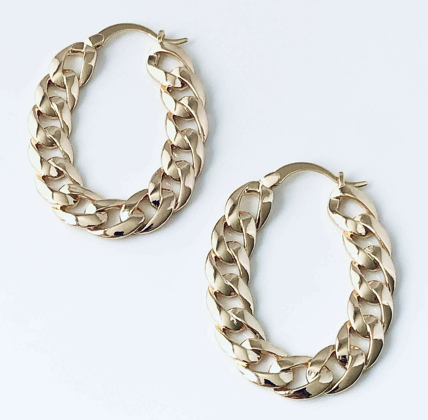 14k gold fill chain hoops