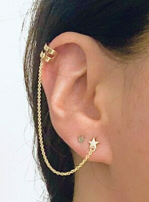 Star post + cuff 14K Gold plated sterling silver /20208