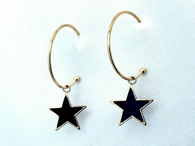 14k gldplt steel blk star hoop /187